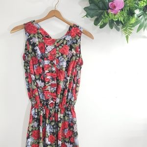 Vintage Maxi Dress size Small floral ruffle
